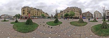 Vista panorâmica de construções históricas de Victory Square - Timis Fotografia de Stock Royalty Free