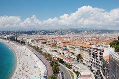 Vista panorâmica de Cote d'Azur perto da cidade de agradável, França Imagens de Stock Royalty Free