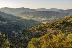 Vista panorâmica de Cucugnan, França Foto de Stock Royalty Free