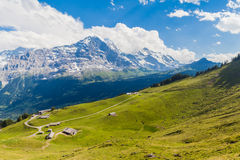 Vista panorâmica de Eiger, de Monch e de Jungfrau Fotos de Stock Royalty Free