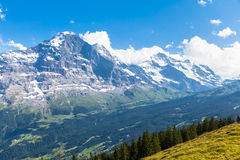 Vista panorâmica de Eiger, de Monch e de Jungfrau Fotografia de Stock