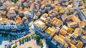 Vista panorâmica de Kerkyra, capital da ilha de Corfu imagens de stock