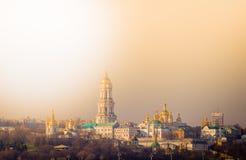Vista panorâmica de Kiev Pechersk Lavra Orthodox Monastery em Kiev, Ucrânia fotos de stock royalty free