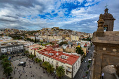 Vista panorâmica de Las Palmas de Gran Canaria em um dia bonito, vista da catedral de Santa Ana Fotografia de Stock