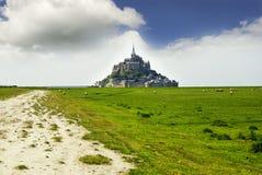 Vista panorâmica de Le famoso Mont Saint Michele fotografia de stock