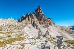 Vista panorâmica de montanhas das dolomites em Itália fotografia de stock