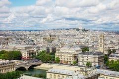 Vista panorâmica de Paris do Notre Dame Cathedral em Paris, Imagens de Stock Royalty Free