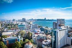 A vista panorâmica de Pattaya de um ângulo alto Pattaya é uma cidade famosa do turista de Tailândia imagens de stock