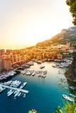 Vista panorâmica de Porto de Fontvieille em Mônaco Azur Coast Foto de Stock Royalty Free