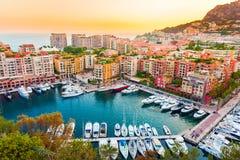 Vista panorâmica de Porto de Fontvieille em Mônaco Azur Coast Imagem de Stock Royalty Free