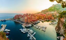 Vista panorâmica de Porto de Fontvieille em Mônaco Azur Coast Imagem de Stock