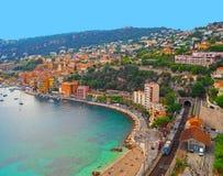 Vista panorâmica de Riviera francês perto da cidade de Villefranche, Menton, Mônaco Monte - Carlo, ` Azur da costa d, Riviera fra Imagens de Stock