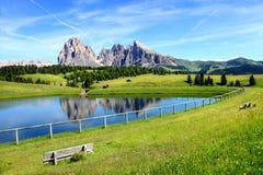 Vista panorâmica de Seiser Alm com Sassolungo, Tirol sul, Itália fotos de stock