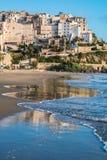 Vista panorâmica de Sperlonga e do Sandy Beach bonito Italy Fotografia de Stock