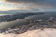Vista panorâmica de Tromsø de Fjellstua Fotografia de Stock