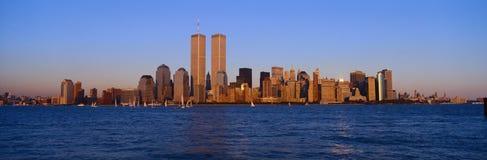 A vista panorâmica de um mais baixos Manhattan e Hudson River, skyline de New York City, NY com comércio mundial eleva-se no por  imagem de stock royalty free