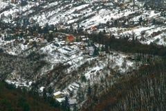 Vista panorâmica de uma área do subúrbio no inverno Foto de Stock Royalty Free