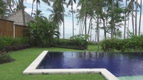 Vista panorâmica de uma palmeira o mar e a associação em tropical o recurso de Bali Indonésia vídeos de arquivo