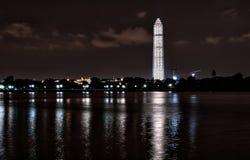 Vista panorâmica de Washington Monument iluminado  fotografia de stock