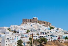 Vista panorâmica do castelo do ` s de Astypalaia fotos de stock royalty free