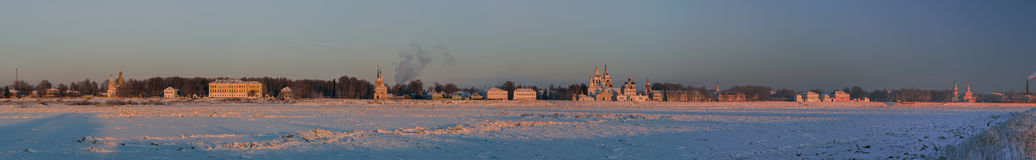 Vista panorâmica do centro histórico de Veliky Ustyug, Rússia foto de stock
