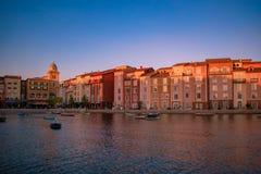 Vista panor?mica do hotel da ba?a de Portofino, todo o encanto de It?lia na ?rea 11 de Universal Studios imagem de stock royalty free