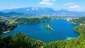 Vista panorâmica do lago sangrado, Eslovênia filme