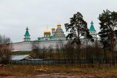 Vista panorâmica do monastério novo do Jerusalém de Voskresensky ou de ressurreição Imagem de Stock Royalty Free