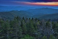Vista panorâmica do parque nacional das montanhas fumarentos Fotografia de Stock Royalty Free
