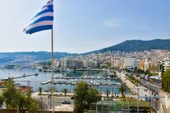 Vista panorâmica do porto da cidade antiga de Kavala fotografia de stock royalty free