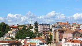 Vista panorâmica do roofscape bonito da cidade de Lisboa, capital de Portugal filme