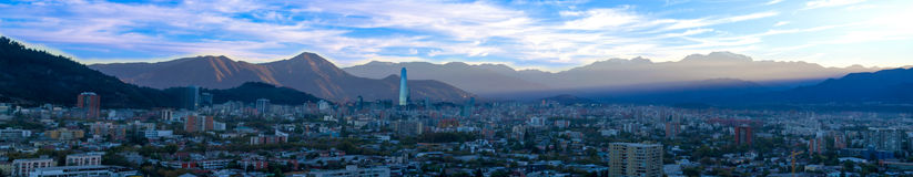 Vista panorâmica do Santiago no Chile Fotografia de Stock