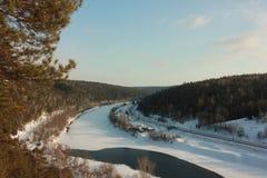 Vista panorâmica do Silva do rio da rocha de Yermak Fotografia de Stock Royalty Free