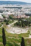 Vista panorâmica do teatro antigo do dionysus em Atenas, Grécia Imagens de Stock