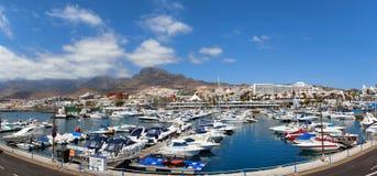 Vista panorâmica dos dois pontos do porto, Tenerife Fotos de Stock