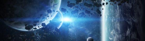 Vista panorâmica dos planetas no sistema solar distante 3D que rende e ilustração stock