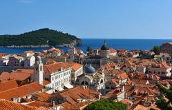 Vista panorâmica Dubrovnik e Lokrum fotos de stock royalty free