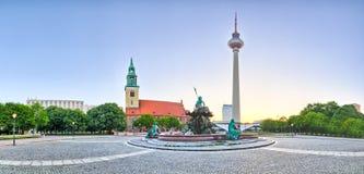 Vista panorâmica em Alexanderplatz em Berlim - Alemanha Fotografia de Stock Royalty Free