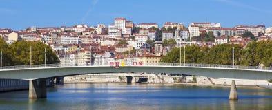 A vista panorâmica em Lyon e Saone rive imagens de stock royalty free