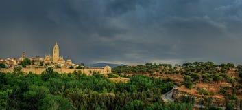 Vista panorâmica em Santa Maria Cathedral Segovia, Spain imagem de stock royalty free