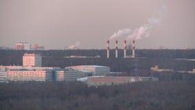 Vista panorâmica industrial em uma fábrica grande video estoque