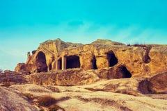 Vista panorâmica na cidade antiga Uplistsikhe da caverna Fotografia de Stock Royalty Free