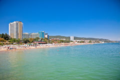 Vista panorâmica na praia de Varna em Bulgária. Fotos de Stock Royalty Free