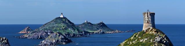 Vista panorâmica na torre do arquipélago Sanguinaires e do Parata Imagem de Stock