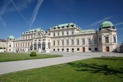 Vista panorâmica no dia ensolarado do palácio famoso do Belvedere do marco fotografia de stock royalty free