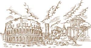 Vista panorâmica no teatro antigo de Marcellus ilustração stock