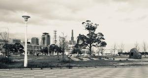 Vista panorâmica preto e branco no parque de Meriken em Kobe, Japão foto de stock royalty free
