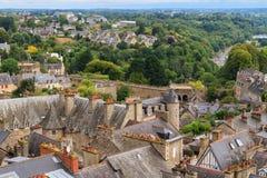 Vista panorâmica velha da cidade de Dinan Imagem de Stock Royalty Free