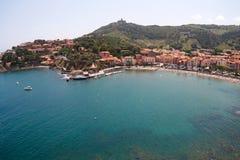 Vista panorâmico de Collioure, France, Europa Fotografia de Stock