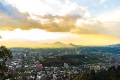 Vista panorâmico de santiago do Chile Fotografia de Stock